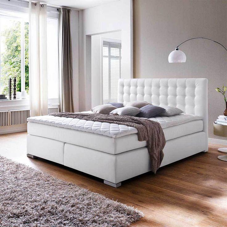 Boxspringbett in Weiß Matratze   moebel Liebe.com   Weißes bett, Betten kaufen, Bett jugendzimmer
