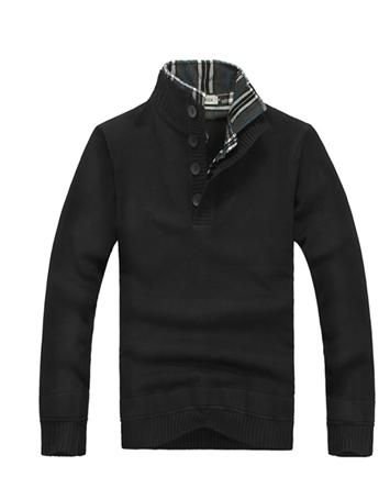 Fashion Long Sleeve Pullover Stand Collar Button Cotton Blend Men Sweater