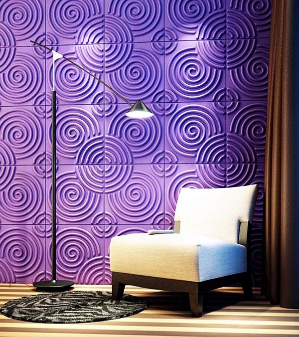 PURPLE WALLS: Purple is another color that mixes and associates with red and blue. Royalty is found in purple as well as luxury, dignity, mystery and magic. Romance and nostalgia are resembled by light purple.