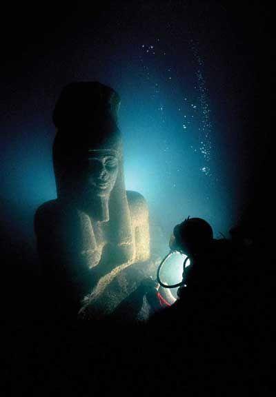 Egypt's sunken treasures...Off the coast of the city of Alexandria, Egypt ~ Photo by...Underwater archaeologist Franck Goddio.