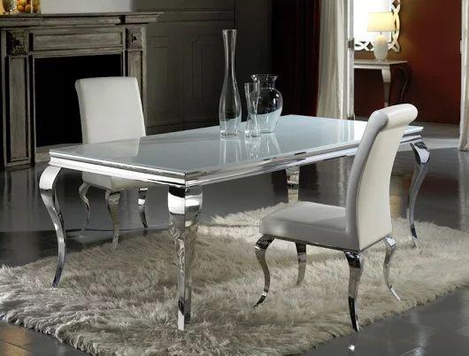 Table Salle à manger Baroque rectangulaire en acier inoxydable, dessus en verre avec rebord poli de 200 x 100 x 1,2 cm.