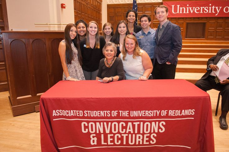 Former Senator Barbara Boxer is with members of the Associated Students of the University of Redlands (ASUR), the University's student government organization.