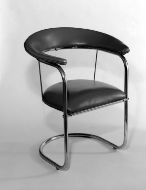 Armchair  Designer: Russel Wright, American, 1904-1976  Manufacturer: Heywood Wakefield Company  Medium: Chromium, plastic (Naugahyde)  Place Manufactured: USA  Dates: ca. 1934
