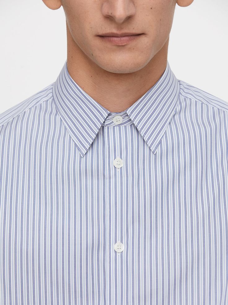 Punch Stripe Poplin Shirt - Blue/Stripe - Shirts - ARKET SE