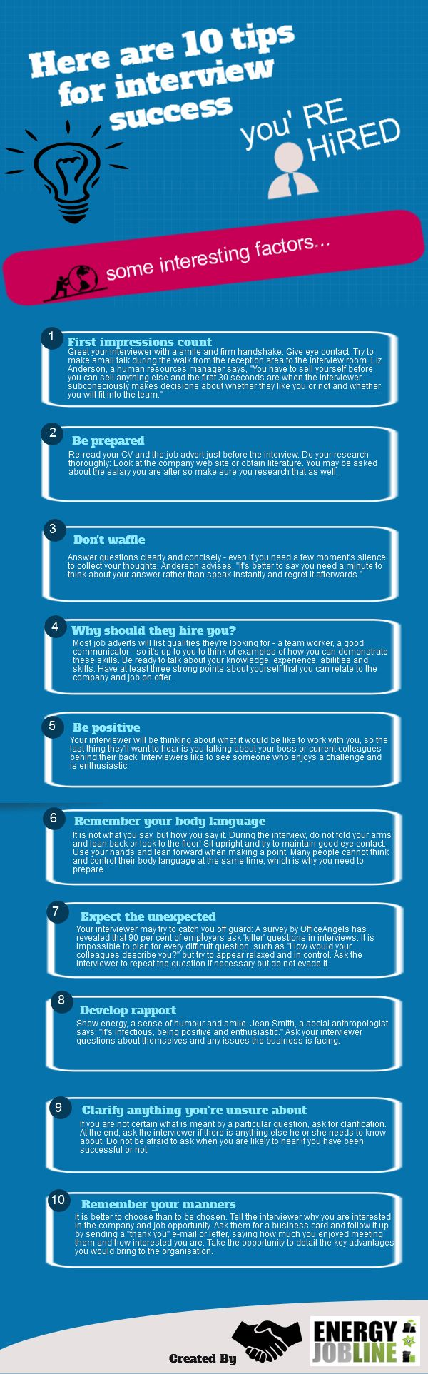 Great tips! And I just love a good infographic... www.Career-Dragon.com Career Advice and Job Tips - PiR Resourcing