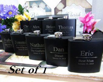 Liquor Flasks, Set of 1, Personalized Gifts for Groomsmen, Best Man Gift, Black Groomsmen Gift, Engraved Hip Flask, Groomsmen Flask