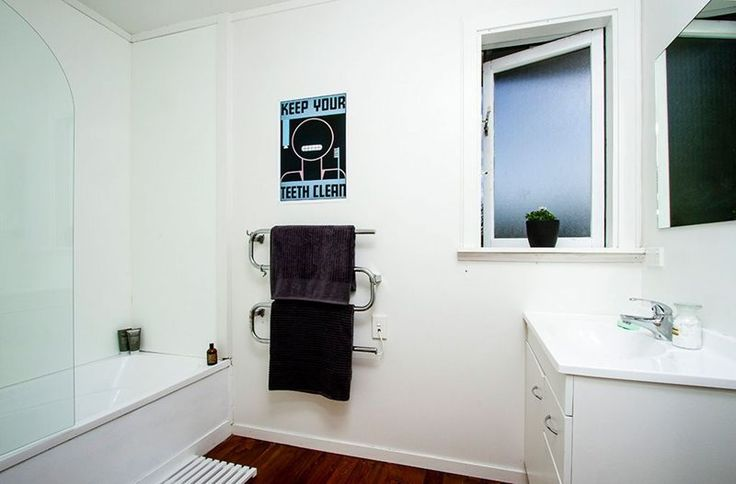 #simple bathroom #vintage poster @endemicworld . Staging by Places and Graces. Photo courtesy of @Harcourts State Office