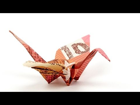 KRANICH aus Geldschein falten, VOGEL als Geldgeschenk zur Hochzeit, 4K - YouTube