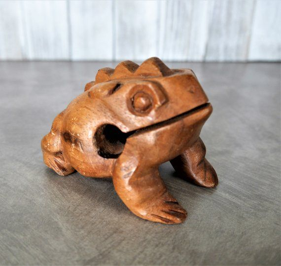 Carved Wooden Frog Guiro Rasp Percussion Instrument Warm Brown Wood, Gift  for Musician | Carving, Brown wood, Wooden