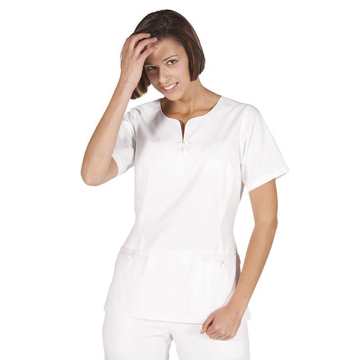 6081 - blusa de sanidad cloe para mujer, en manga corta y color blanco. Con cinturón regulable #medico #enfermera #doctor #hospital #batasanidad #ropaestetica