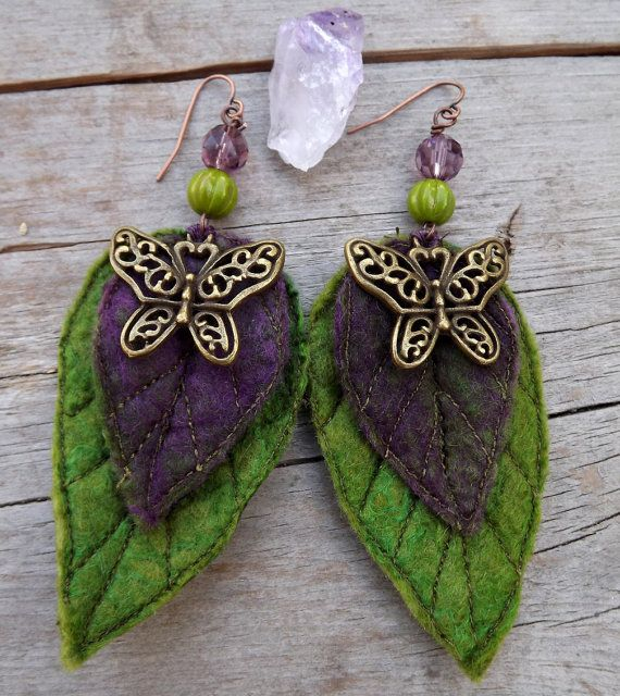 Gift-gift for woman-Butterfly Earrings-unique earrings-statement earrings-Leaf Earrings- Pixie Earrings - Purple Accessory- leaf earrings