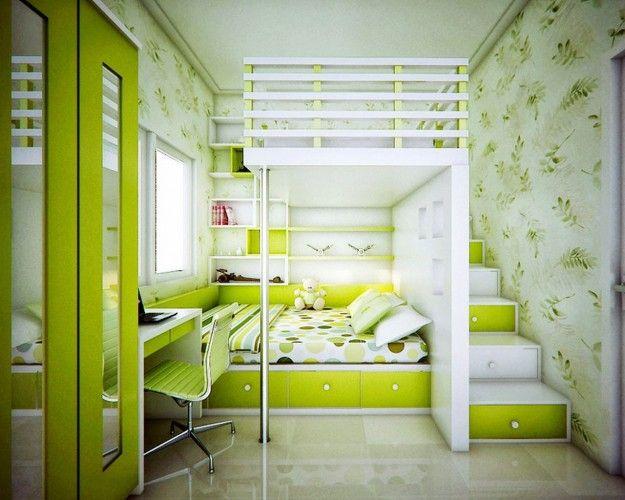 Camerette bambini Ikea verde acido.