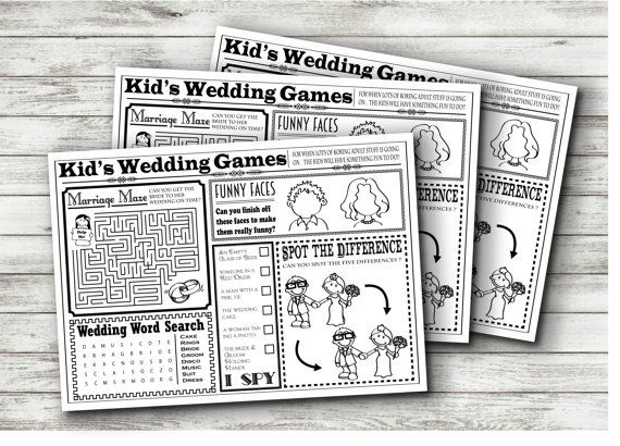 Wedding Kids Activity Sheet  INSTANT DOWNLOAD by StefRzysko