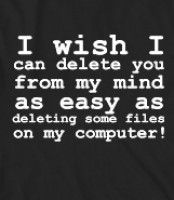 I wish I can delete you from my mind as easy as deleting some files on my computer! - I wish I can delete you from my mind as easy as deleti...