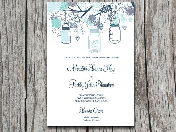 PRINTABLE Love Birds, Flowers, Hearts, Tree Wedding Invite - invitation download template