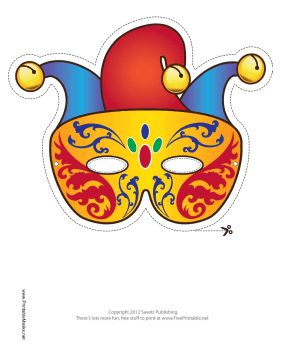 This Mardi Gras Jester Mask features the three-pointed hat motif of a jester or fool. Free to download and print
