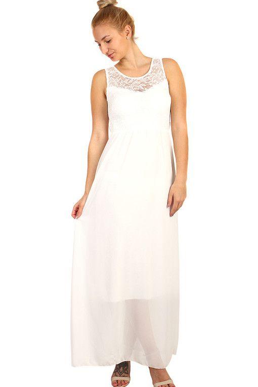 Dlouhé večerní šaty s krajkovým vrškem  edcc773281