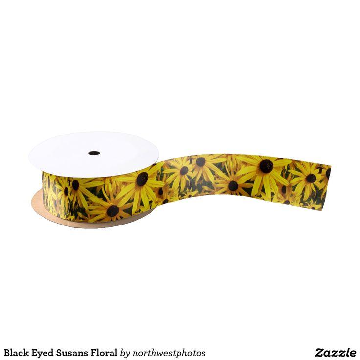 Black Eyed Susans Floral Satin Ribbon