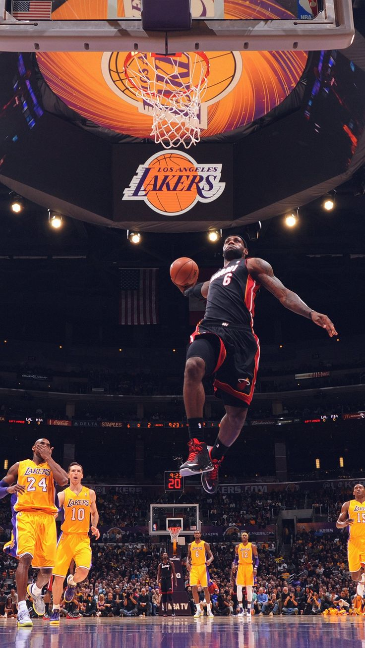 Lebron James NBA Basketball Dunk iPhone 6 wallpaper