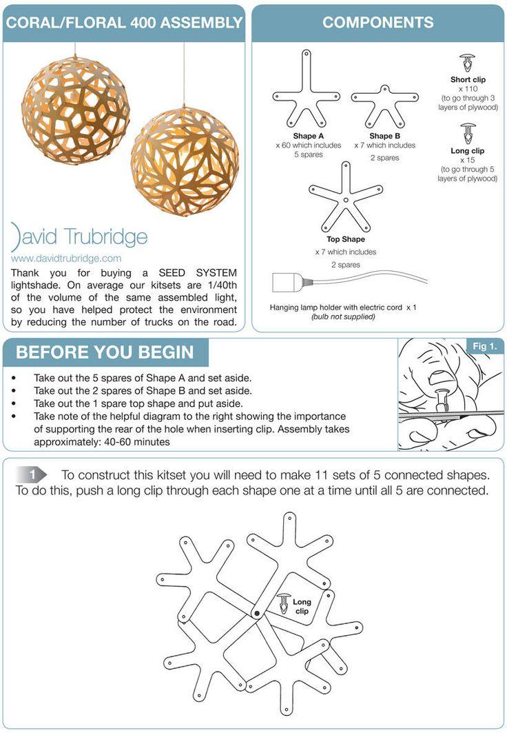 instrucciones para la construcción de un coral companents lámpara florales