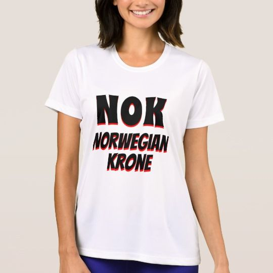 The symbol for Norwegian krone (NOK) with black and red color and with the word Norwegian krone under it, the currency of Norway. This white colored T-Shirt can be customized to give it you own unique look. You can customize the fonts type, fonts color, size, change the text, remove and add text, add photo and more.