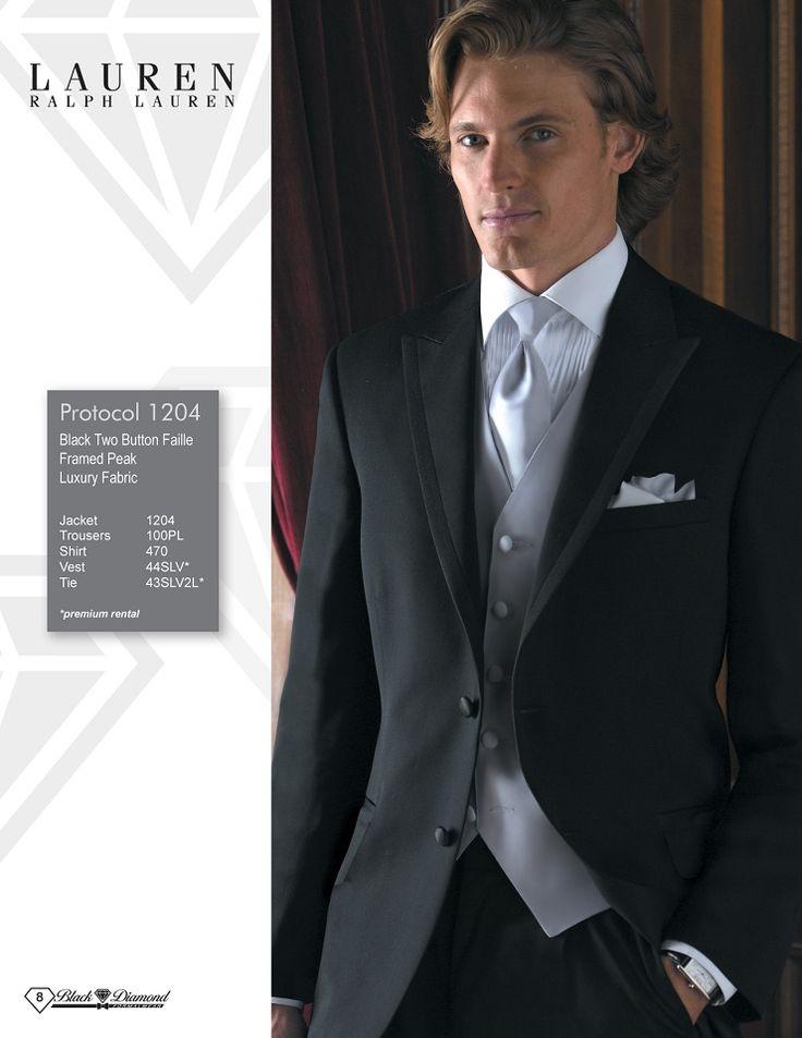 Ralph Lauren Protocol Black Two Button Faille Framed Peak Luxury Fabric