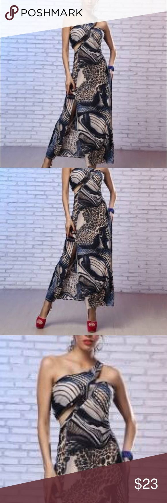 One shoulder animal print  long maxi dress Black Friday SALE  //  Casual floral print asymmetrical long dress.  available S & M other Dresses Maxi