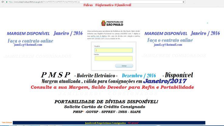 PMSP - HOLERITE DEZ/2016 E MARGEM DISPONÍVEL