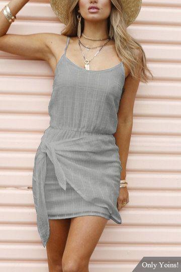 US$11.99 #Grey #Sexy #Sleeveless #Self-tie #Design #Mini #Dress