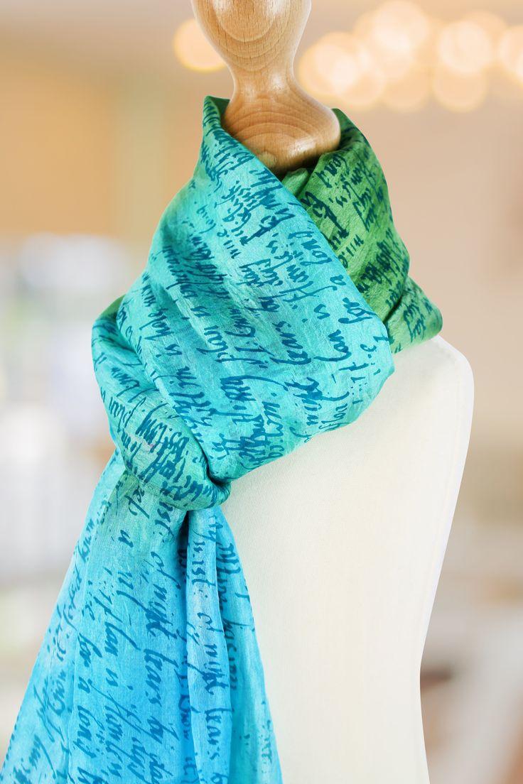 Beautiful silk scarf. Printed using the Screen Sensation + Antique Script screen
