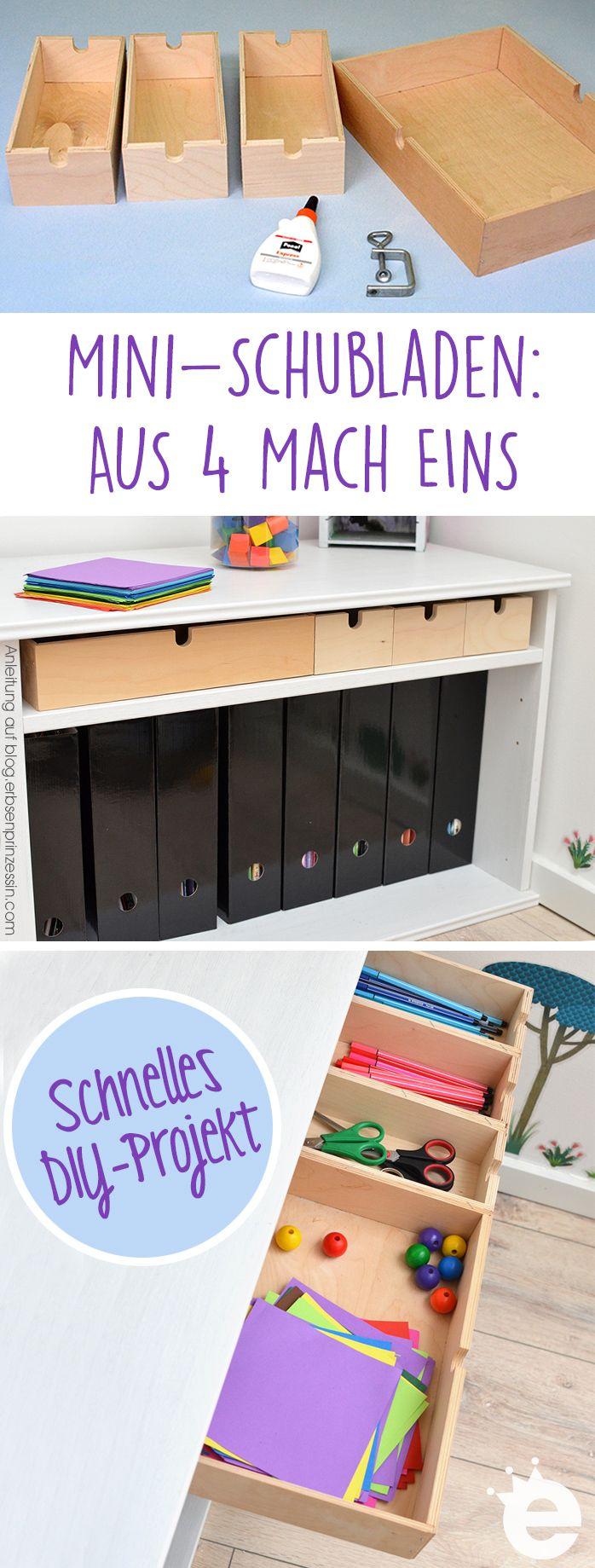 Mini-Schubladen: Aus 4 mach eins. DIY-Anleitung für einen Schubkasten mit Sortierfächern . IKEA-Hack Kommode Fira / Moppe