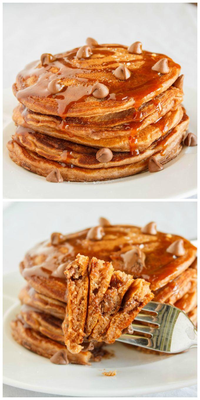 Salted Caramel Hot Chocolate Pancakes   #recipe #breakfast #pancakes #chocolate   http://thecookiewriter.com