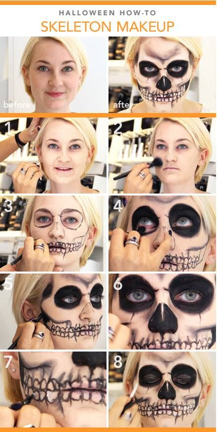 step by step skull makeup-Wear this with all black, and answer the door when trick or treaters come.#makeup #halloween