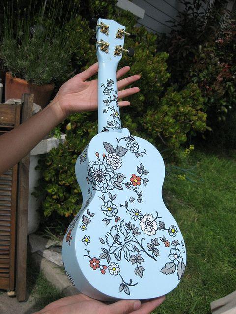 "Hand painted ukulele ""blou"" by C'est_Louise, via Flickr"