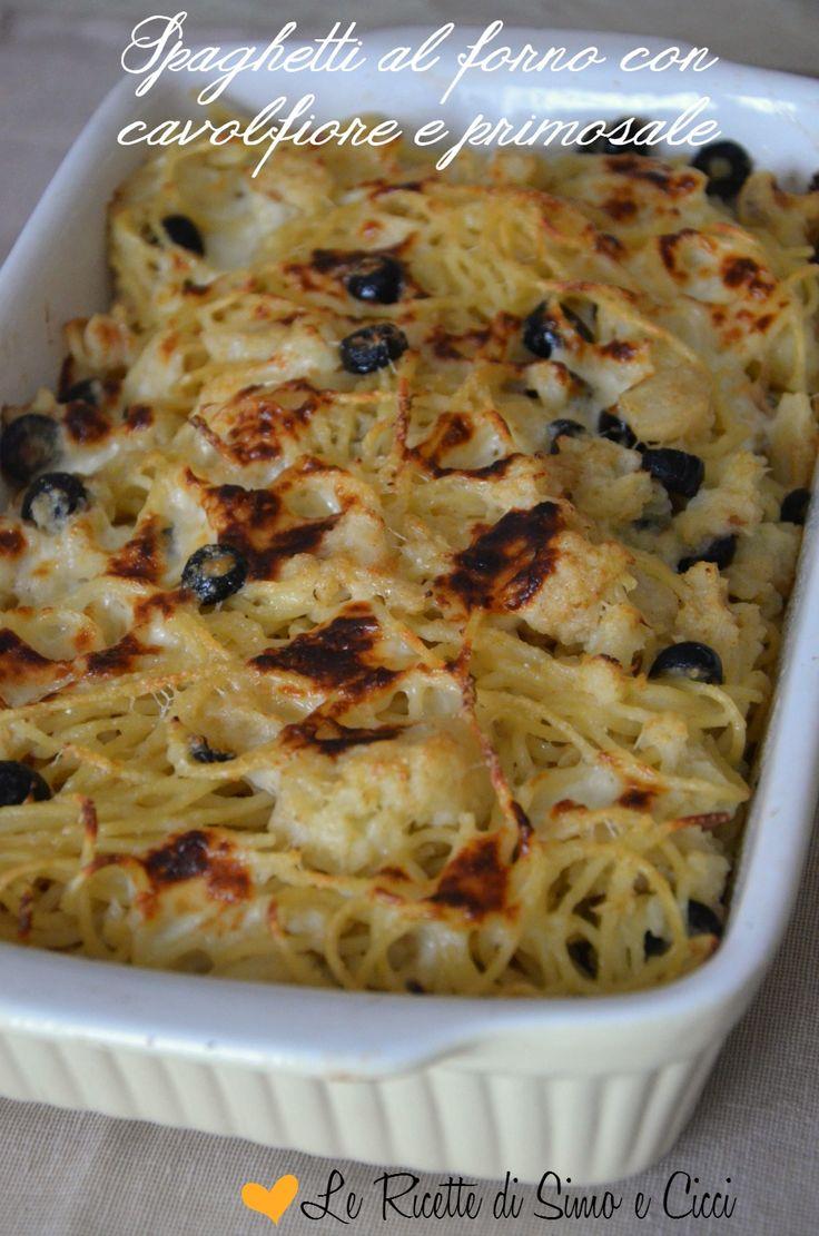 Spaghetti al forno con cavolfiore e primosale