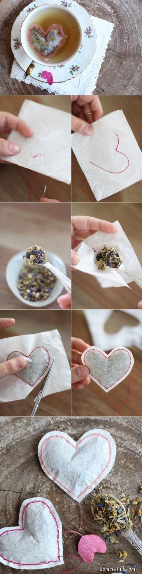 homemade heart-shaped tea bags