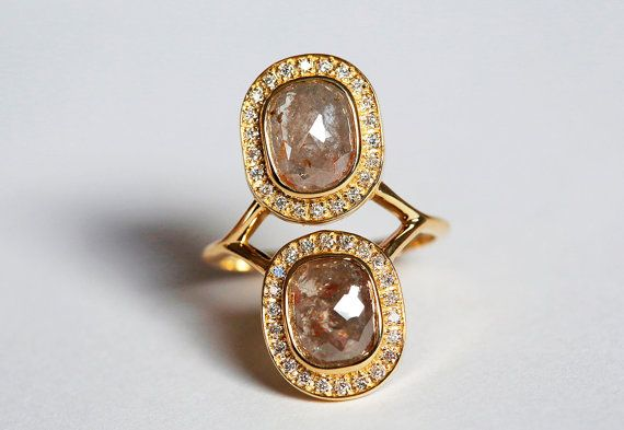 Rosa corte anillo de diamantes, anillo de diamantes de OOAK, amortiguador anillo de compromiso, anillo de Engagament moderno, doble amortiguador diamante anillo oro 14k