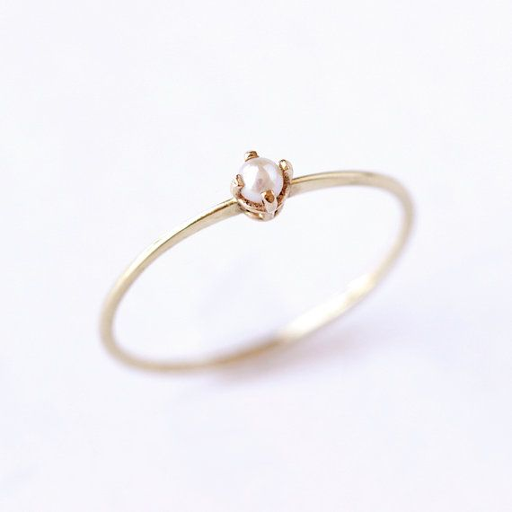 Gold Pearl Ring, Dainty Engagement Ring, Seed Pearl Ring, Pearl Promise Ring, Delicate Pearl Ring, Tiny Pearl Ring, June Birthstone Ring
