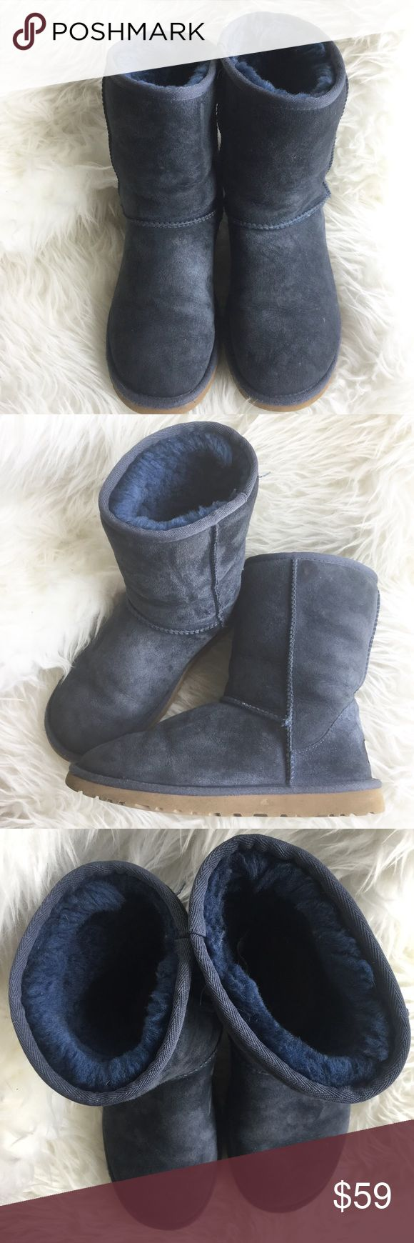 Navy Blue Uggs *Authentic. In excellent used condition. They smell clean (no odor or anything). See wear in photos. Fits like a 6.5/7 says size 6. UGG Shoes Winter & Rain Boots