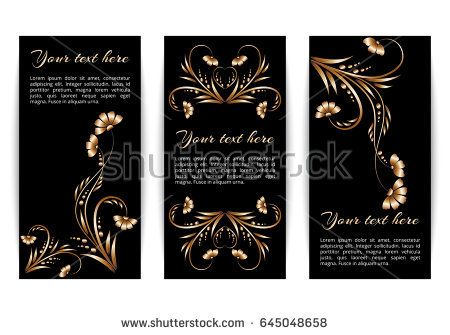 Set of vertical banners with gold foil colors on a dark background