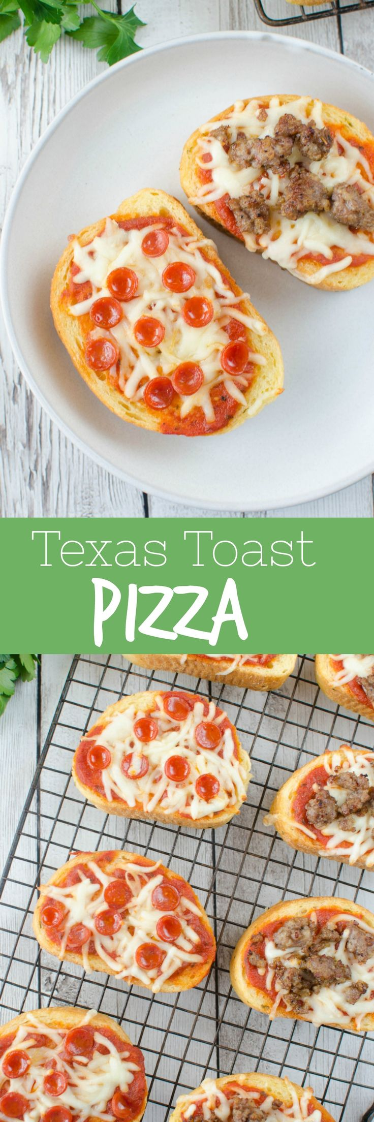Texas Toast Pizza - quick and easy way to to do pizza night! Garlic Texas toast with pizza sauce, cheese, and whatever toppings you love! Ready in less than 10 minutes and a kid favorite!