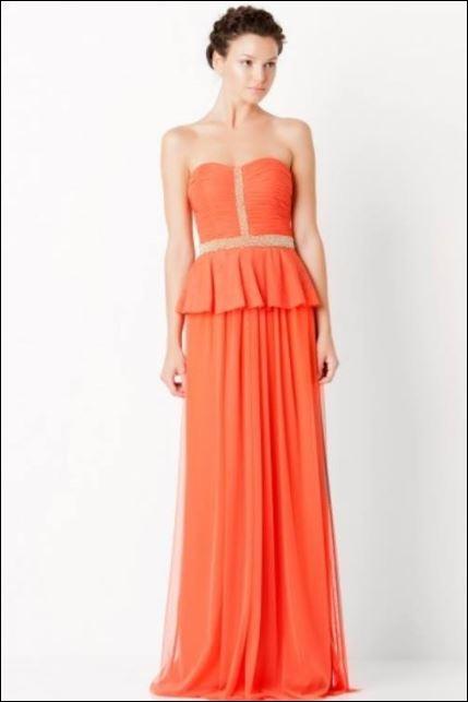 Formal | Wedding | Peplum | Orange