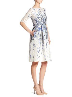LELA ROSE Elbow Sleeve Floral Dress. #lelarose #cloth #dress
