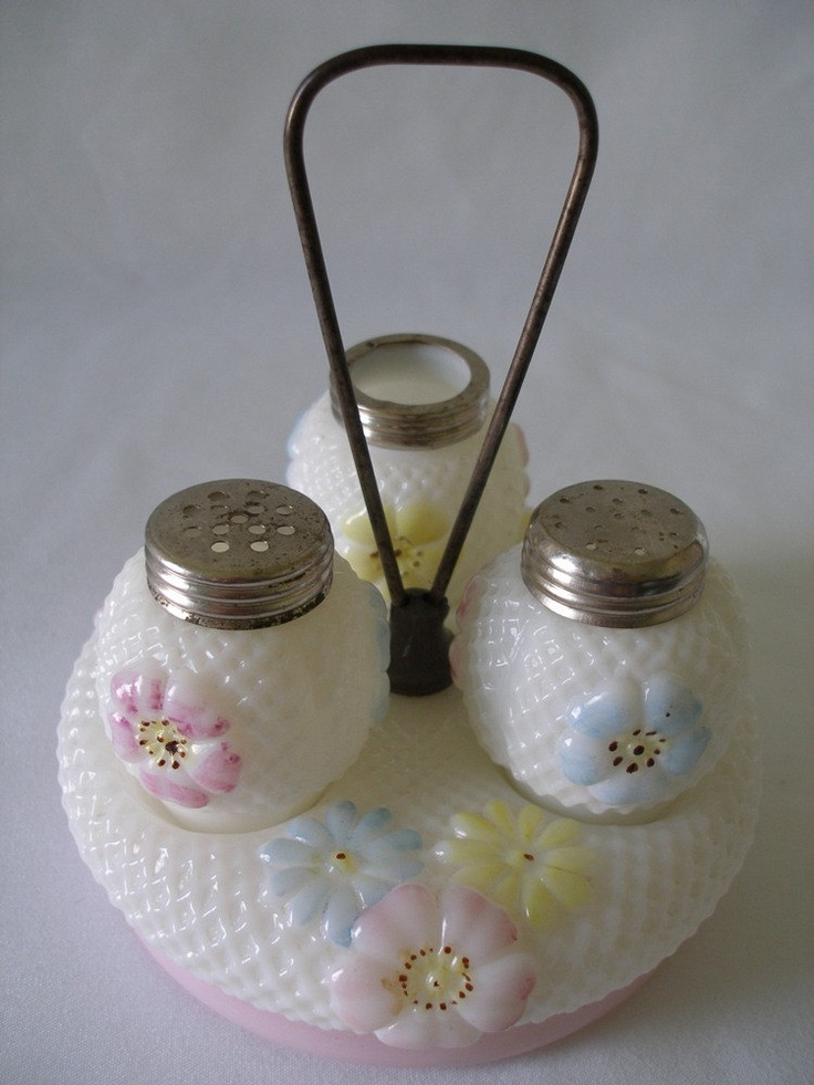 Cosmos Castor/Condiment Set - Consolidated Glass Co. c.1890.