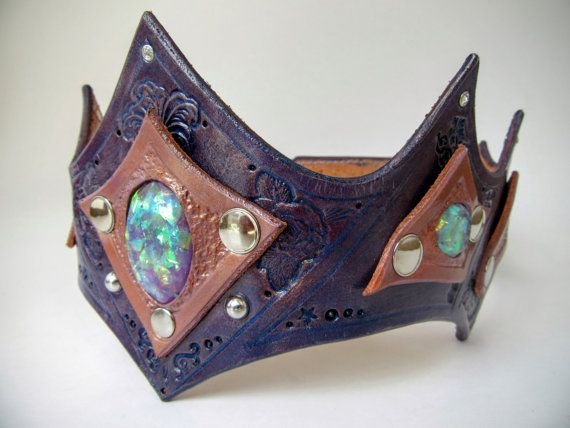 Sparkly Leather Crown Headpiece Magical by DarkNatureAesthetics