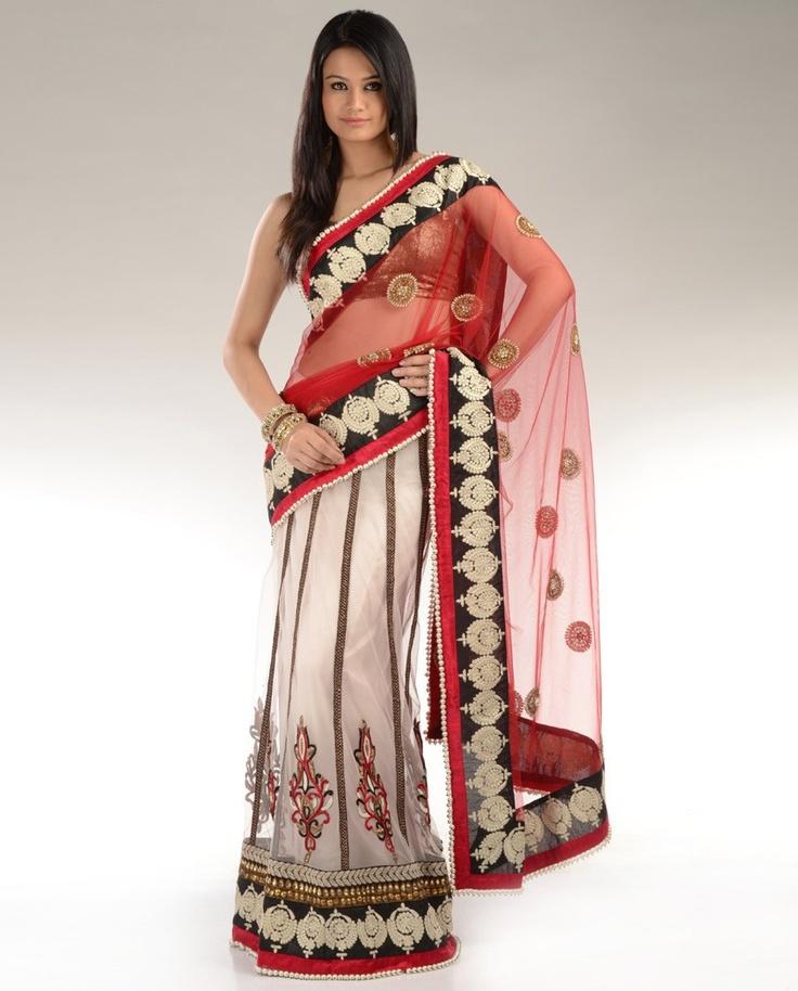 .: Black Saree, Lengha Sari, Chhabra555 Red, Saree Chhabra, Indian Fashion, Minute Saree, Indian Traditional, Red Net, Red Black
