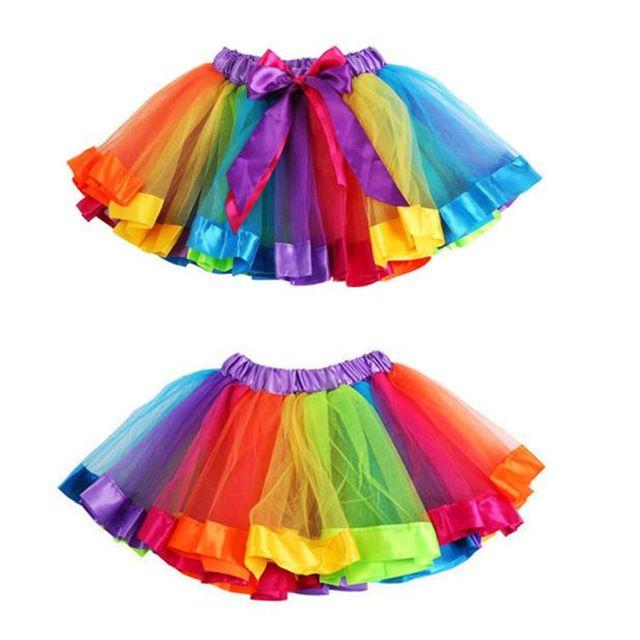 HOT Merk Meisjes Kids Petticoat Regenboog Pettiskirt Strik Rok Tutu Dancewear