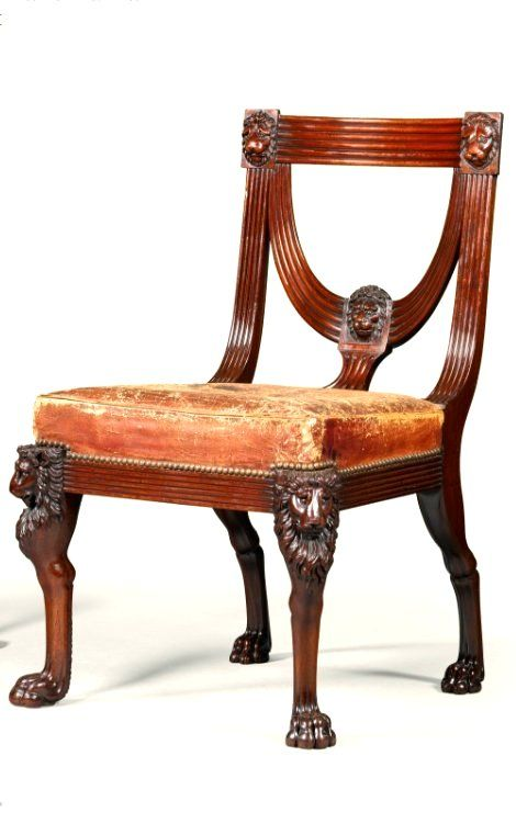 Great A Pair Of Regency Carved Mahogany Side Chairs, Circa 1810, After A Design By
