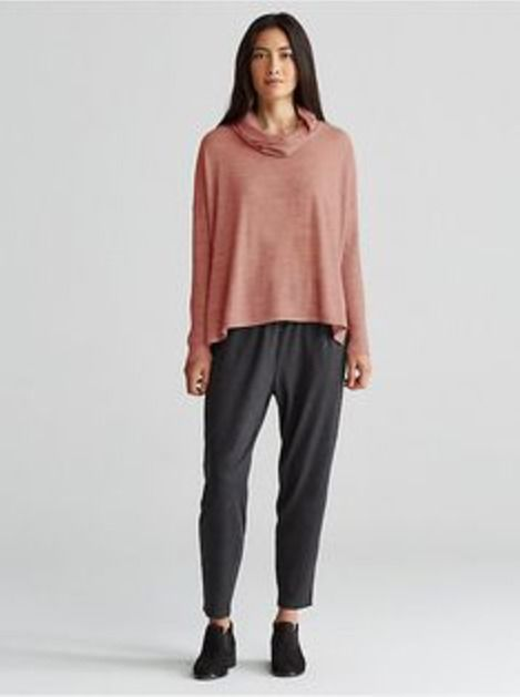 NWT Eileen Fisher Ultra-fine Merino Cowl Neck Solid Box-Top Sweater Top -Caramel  | eBay  #eileenfisher #merino #luxefashionfinds