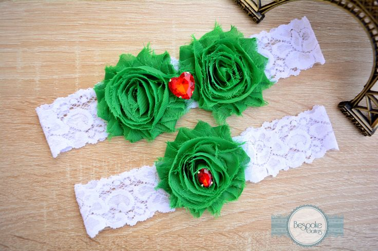 White Lace Garter Set, Handmade with Emerald Green Flower & Crystal Red Rhinestone - by BespokeGarters by BespokeGarters on Etsy